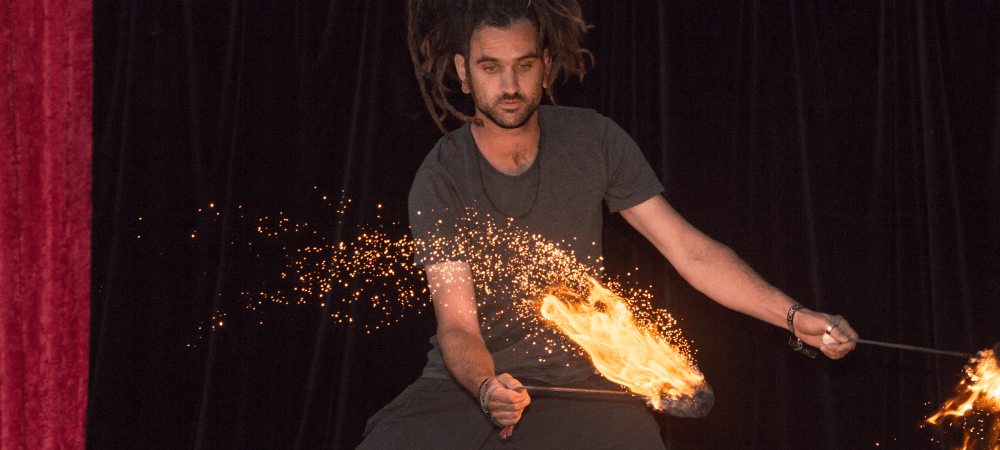 Tim Goddard(Timmehtek) Fire Poi with Gold Flow - TheFlowFX.com