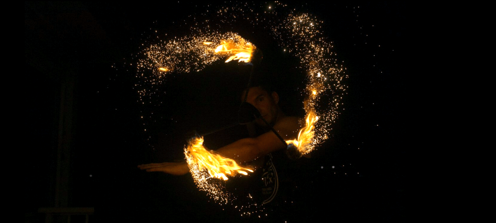Gold Sparkle by TheFlowFX.com on DragonStaff. Photo by Spinferno Fire and Photography.