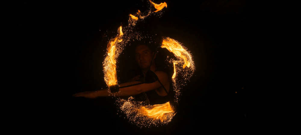 Gold Flow by TheFlowFX.com on DragonStaff. Photo by Spinferno Fire and Photography.